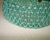 green teal and gilt lined opal seed bead capricho- lacy- stitch  beaded bracelet - helenshmcreations