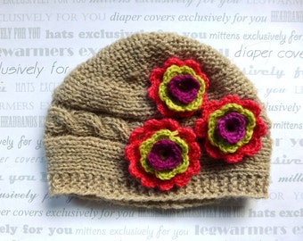 Newborn Baby Girl Hat - Knit Baby Hat With Flower - Knit Newborn Hat