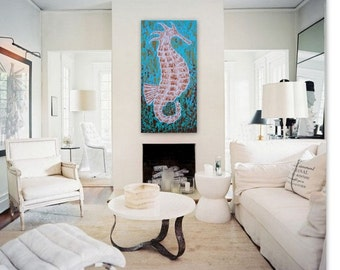 Seahorse Original Art on Canvas 12x24