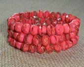 Coral Czech Glass Bead 6x8mm Rondelle Faceted TIGERLILY (10)