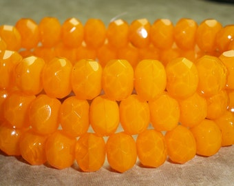 Orange Czech Glass Rondelle 6x8mm Faceted TANGERINE (10)