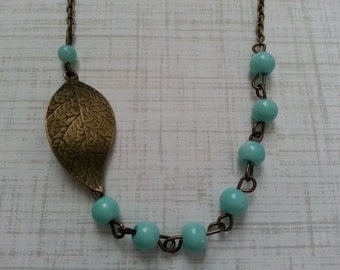 Turquise Beaded Leaf  Necklace