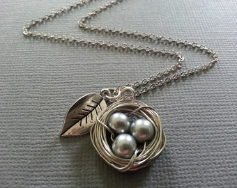 Silver Pearl Bird Nest and Leaf Necklace