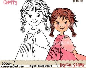 Small Girl Stamp, Digital Girl Stamp, Girl Outline, Girl Line Art, Instant Download,