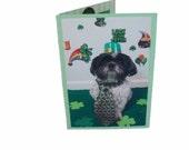 St. Patricks Day Dog Photo Card, Shih Tzu Dog Card