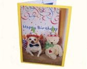 Chihuahua Birthday Card, Teddy Bear Birthday Card, Dog Birthday Card
