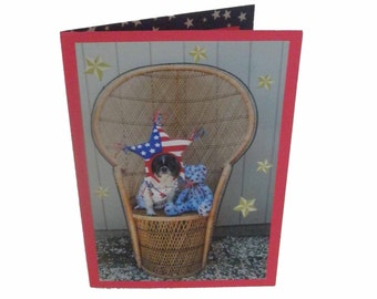 Shih Tzu Patriotic Greeting Card, Blank Dog Card, Fourth of July Card