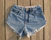 SALE- Vintage Lands End size 2 high waisted medium wash v-cut cutoffs higher on the sides