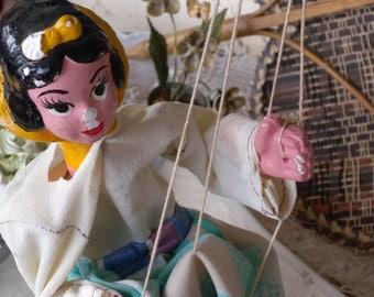 VIntage SNOW WHITE Handmade Composition Marionette Puppet