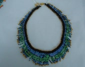 Fringy Collar in blue, green and gold