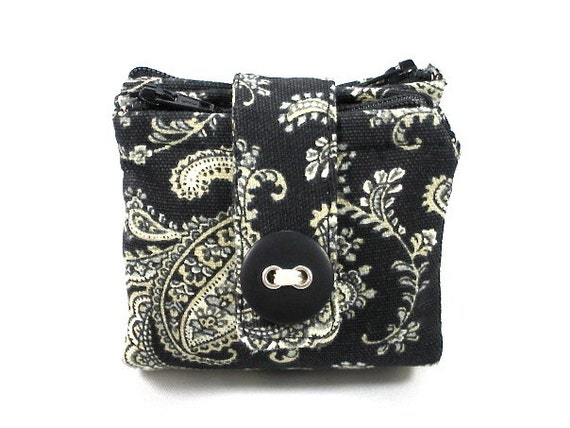 Small Pouch Double-sided Wallet Zipper Pouch Coin Purse Black Cream Handmade Pouch Teen Small Gift