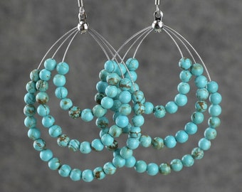 Turquoise big tear drop hoop earrings Bridesmaids gifts Free US Shipping handmade Anni Designs