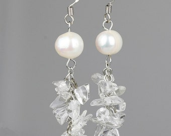 Pearl dangling chunky earrings Bridesmaids gifts Free US Shipping handmade Anni Designs