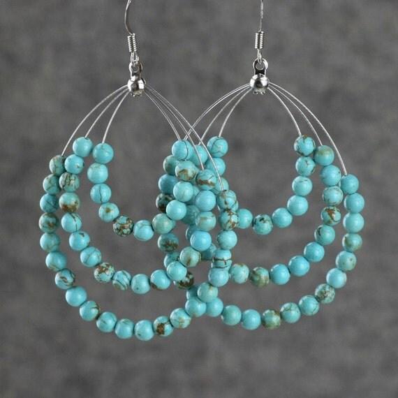 Turquoise Big Tear Drop Hoop Earrings Bridesmaids Gifts Free