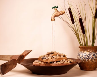 Tabletop Gold Mining Themed Water Fountain with Floating Faucet