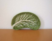 Vintage Ceramic Cabbage Leaf Dish, Portugal