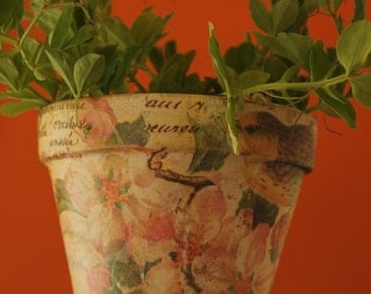 Decoupaged  Terracotta Shabby Chic Flower Pot to plant Mademoiselle