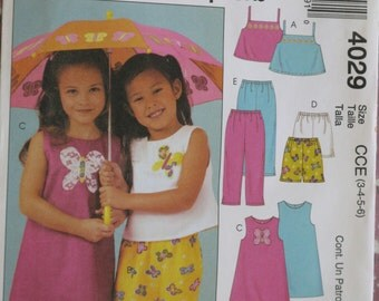 McCalls Children's Girls Tops, Dress, Shorts, Pants Easy Sewing Pattern Sizes 3, 4, 5, 6   Dated 2003 Uncut