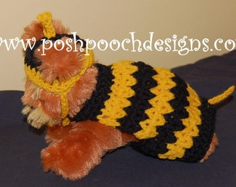 Instant Download - Crochet Pattern  - Dog Bumble Bee Sweater and hat - Small Dog Bee Costume