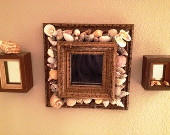 Set of Three Vintage Mirrors Decorated with Sea Shells