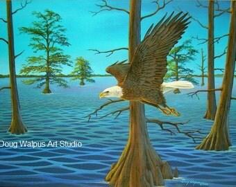Eagle Print, Bird Art, Bald Eagle, American Eagle print, animal wildlife, eagle art, acrylic, wall decor, gifts, office decor, home decor