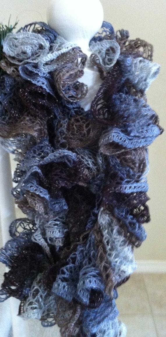 Crocheting Ruffle Scarf : handmade Crochet sashay ruffle scarf gift winter accessory fast ...