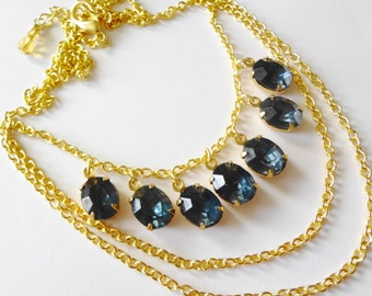 Vintage Rhinestone Multi-layered Necklace in Montana Blue on Gold Chain