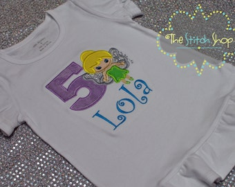 Tinkerbell Cutie Monogrammed and Appliqued Birthday Shirt