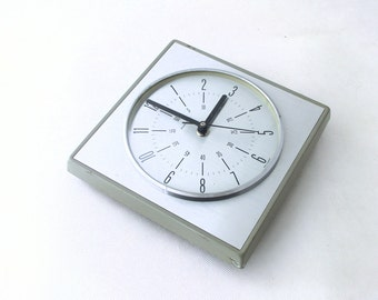 Vintage wall clock - silver / grey color - from Germany 70s