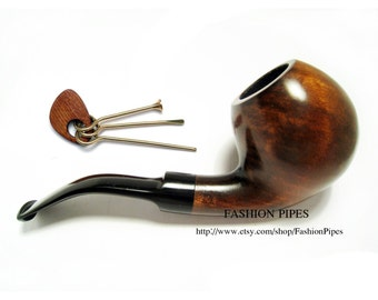 Set Pear Root Wooden pipe/pipes Tobacco Pipe BALL & Tamper. Wood Pipe, Smoking Pipe Fits 9mm Filters - Limited Edition.