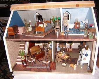 """Doll House, """"The House that Jack Built"""" Cassie model charming southern cottage,FINISHED READY for YOU to furnish Handmade, Wooden"""