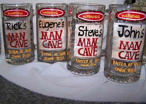 Man Cave Beer Mug hand painted
