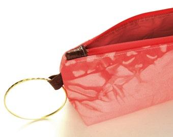 100% Organic Cotton Shibori Clutch - Coral Shibori Wristlet Clutch