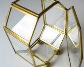 Vintage Brass and glass geometric display box