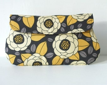 Bridesmaid Clutch in Yellow and Gray - Bloom in Granite