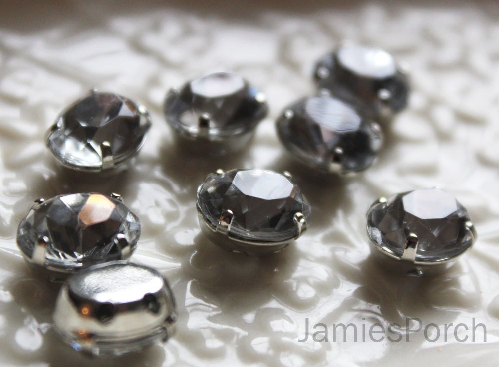 Faceted Sew On Oval Cut Acrylic Crystal 20pcs 8mm X 10mm