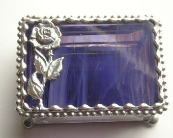 Stained Glass Jewelry Box|Trinket Box|Rose Design|Purple|Jewelry|Jewelry Storage|Home & Living|Storage|Handcrafted|Made in USA
