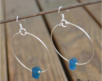 Seashell Jewelry ... Simple Blue Glass Bead Hoop Earrings (0763)