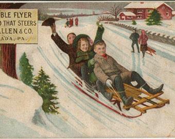 Vintage advertising postcard, Flexible Flyer Sled, children on sleds, 1907