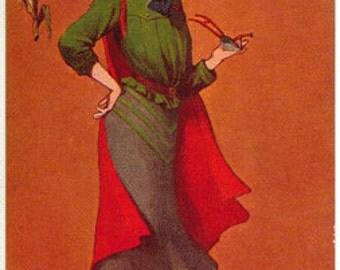 Vintage Postcard, Artist Signed St John, Indiana State Girl, State Seal, 1906