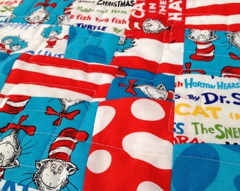 "Dr. Seuss Baby quilt ""Cat in The Hat"" handmade crib blanket"