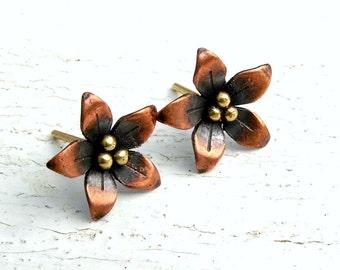 Flower Stud, Post Earrings Copper and Brass Metalwork, Copper Flower