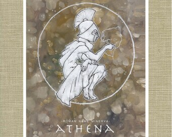 Athena and Minerva Goddess of Wisdom - Olympians Art Print 11 x 14