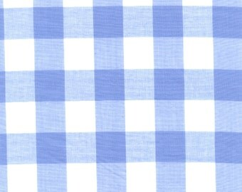 """Blue Gingham Check Fabric (1"""" check) 20 Yards By The Bolt"""