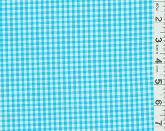 """Turquoise Gingham Check Fabric (1/8"""" check) 20 Yards By The Bolt"""