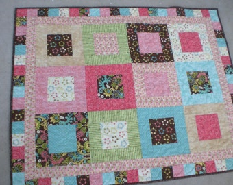 Modern baby quilt,, pink, turquoise and brown quilt