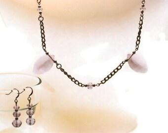 Purple Glass Necklace & Earrings (S055)