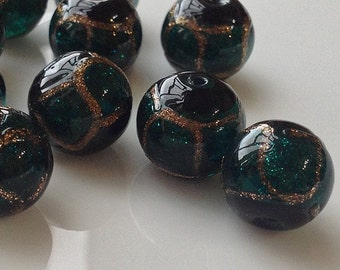 12 mm Dark Malachite Green Czech Lampwork Glass Beads (s.m)