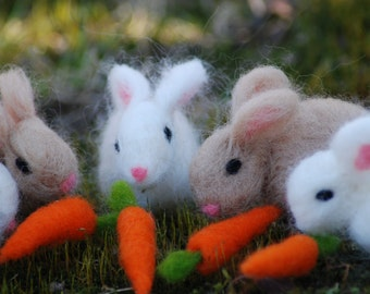 Easter Bunny, Needle Felted Bunny With Carrot Easter Bunny, Handmade, Felt Bunny, Felted Bunnies