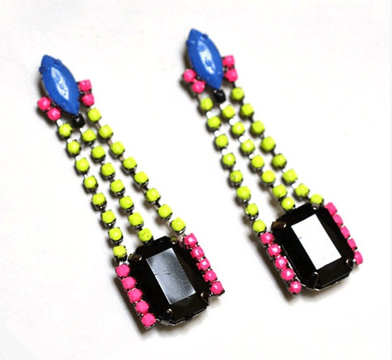 neon earrings geometric The Fontaine in neon yellow pink blue As Seen in Instyle Magazine